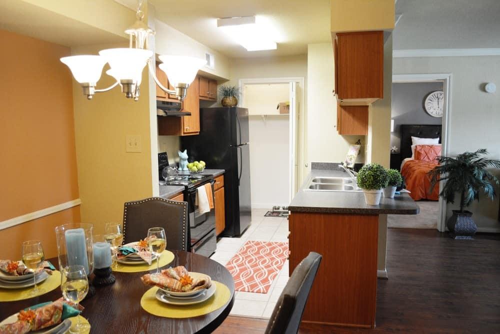 Modern kitchen at The Abbey at Eldridge in Houston, TX