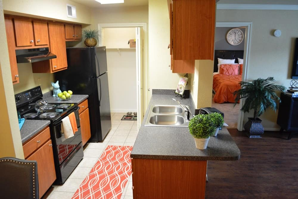 A look at the kitchen inside apartments in Houston