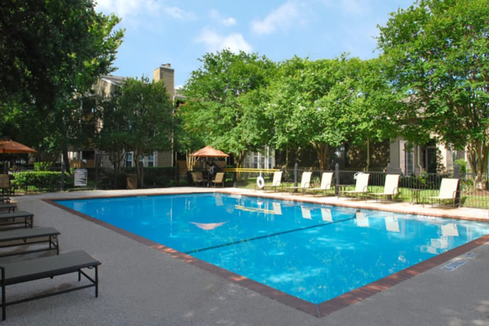 A view of the swimming pool at The Abbey at Eldridge in Houston