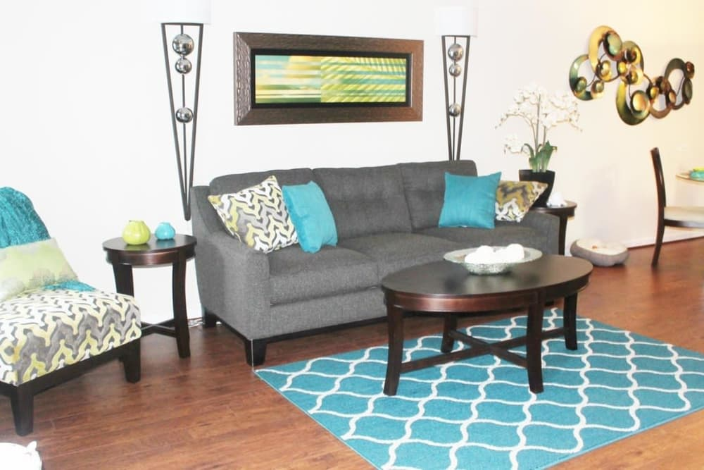 Comfy couch at The Abbey at Conroe apartments