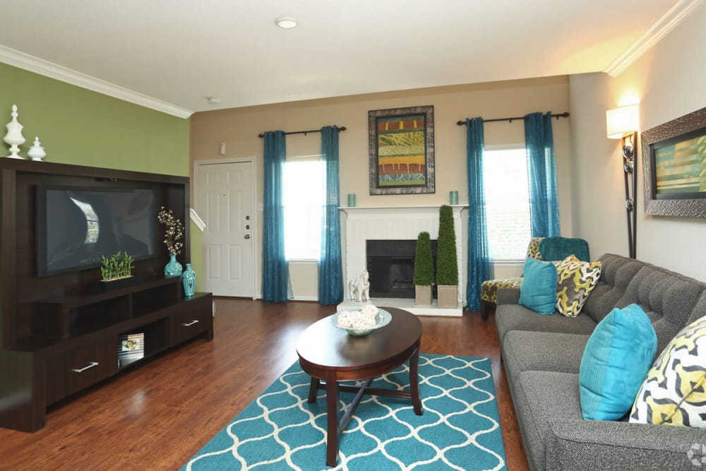 Spacious living room at The Abbey at Conroe apartments