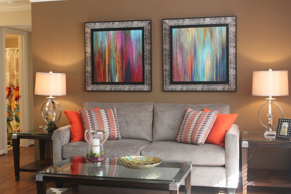 Luxury living room at The Abbey at Conroe apartments