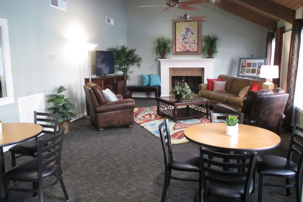 Clubhouse interior at The Abbey at Montgomery Park in Conroe, TX