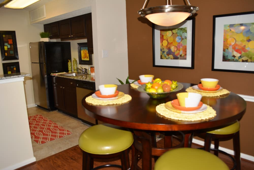 Elegant dining area at The Abbey at Montgomery Park apartments