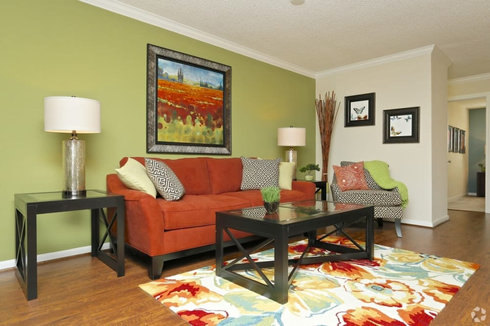 Cozy living room at The Abbey at Montgomery Park apartments