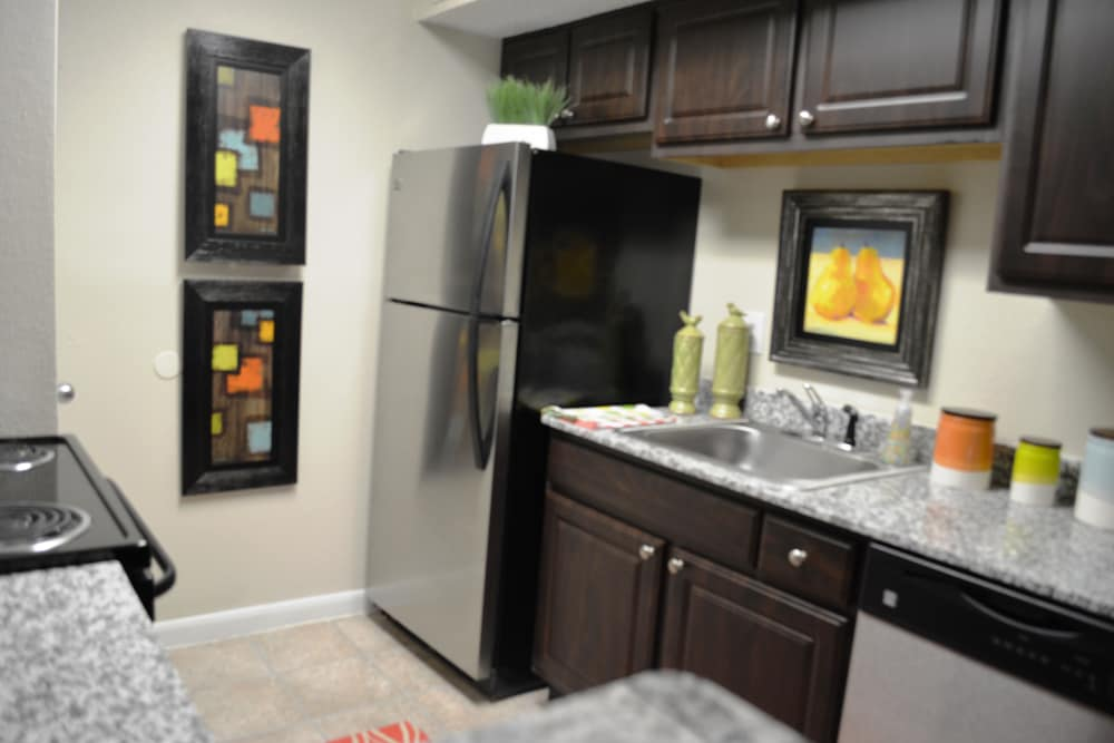 Modern kitchen at The Abbey at Montgomery Park apartments