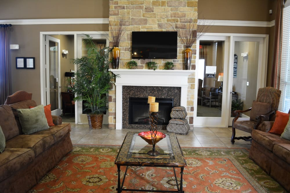 Luxury living room at The Abbey at Briar Forest in Houston, TX