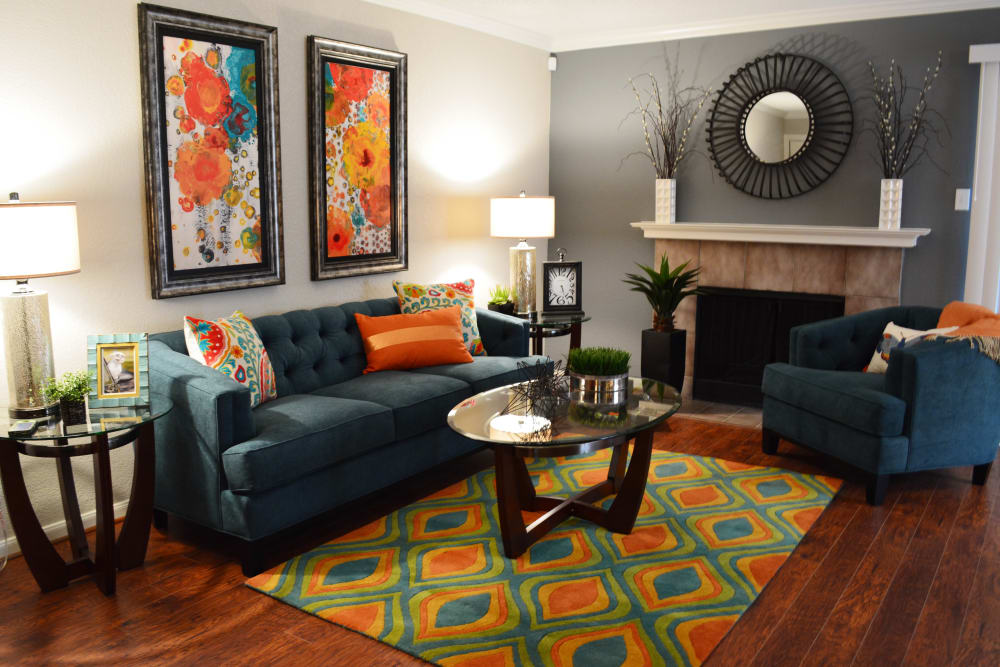 The Abbey at Copper Creek apartments in San Antonio, TX showcase a spacious living room