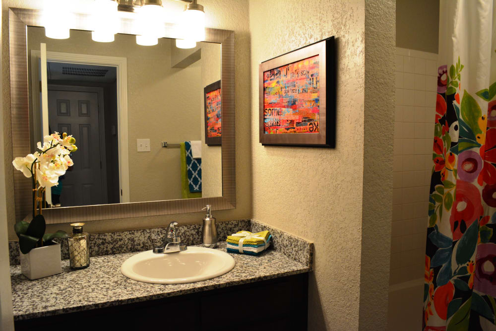 Bathroom at The Abbey at Copper Creek apartments in San Antonio