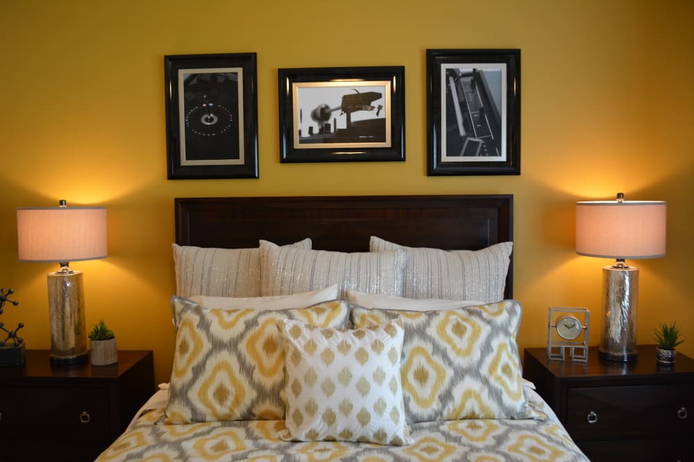 Beautiful bedroom at The Abbey at Eagles Landing apartments in Stockbridge