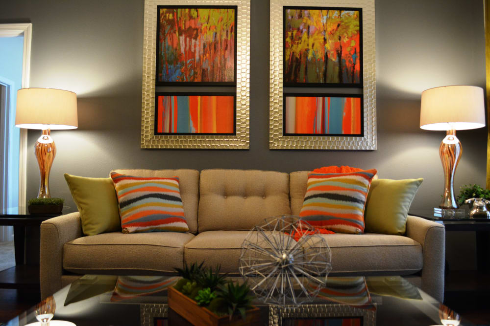 Cozy couch at The Abbey at Eagles Landing apartments