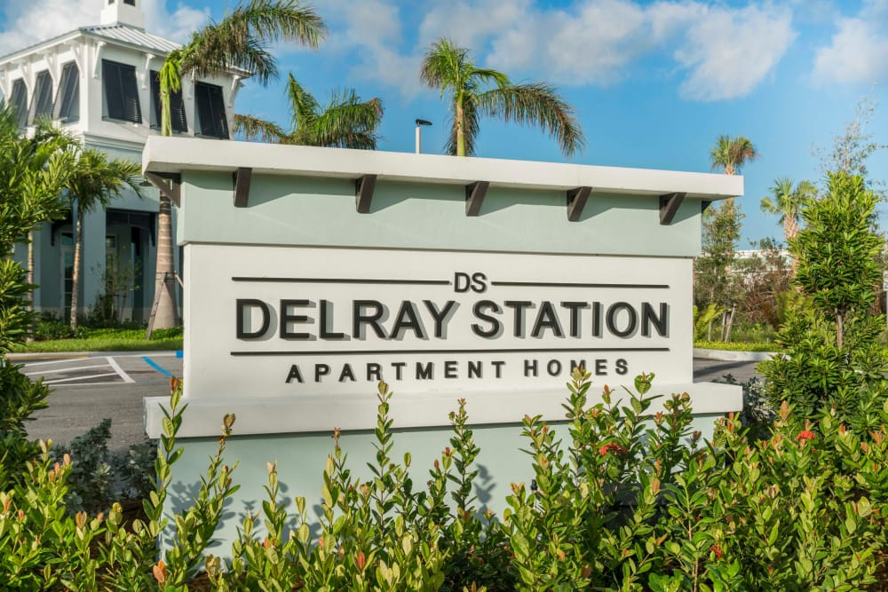 Entrance signage outside of Delray Station in Delray Beach, Florida
