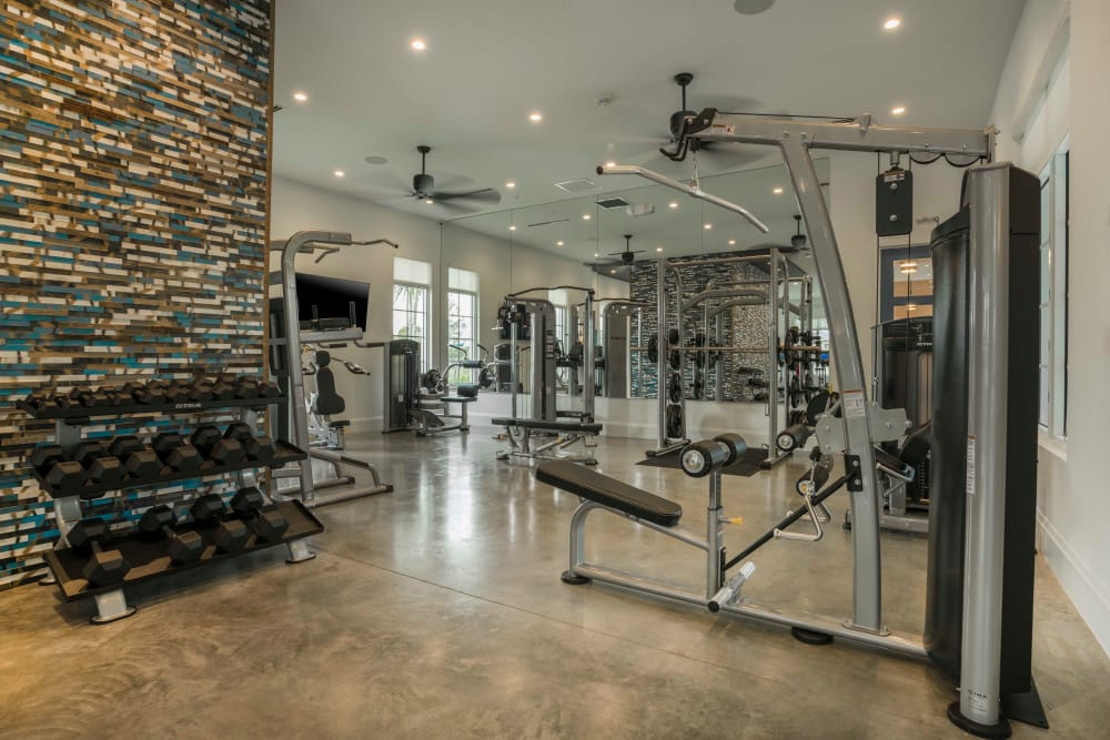 Delray Station features a fully equipped fitness center in Delray Beach, Florida