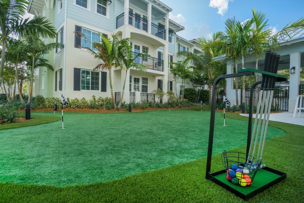 Putting green at Delray Station in Delray Beach, Florida