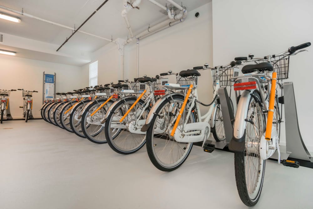 Ample bike storage at Delray Station in Delray Beach, Florida