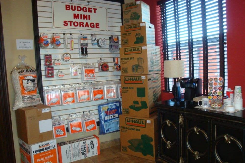 Packing and moving supplies at Budget Mini Storage