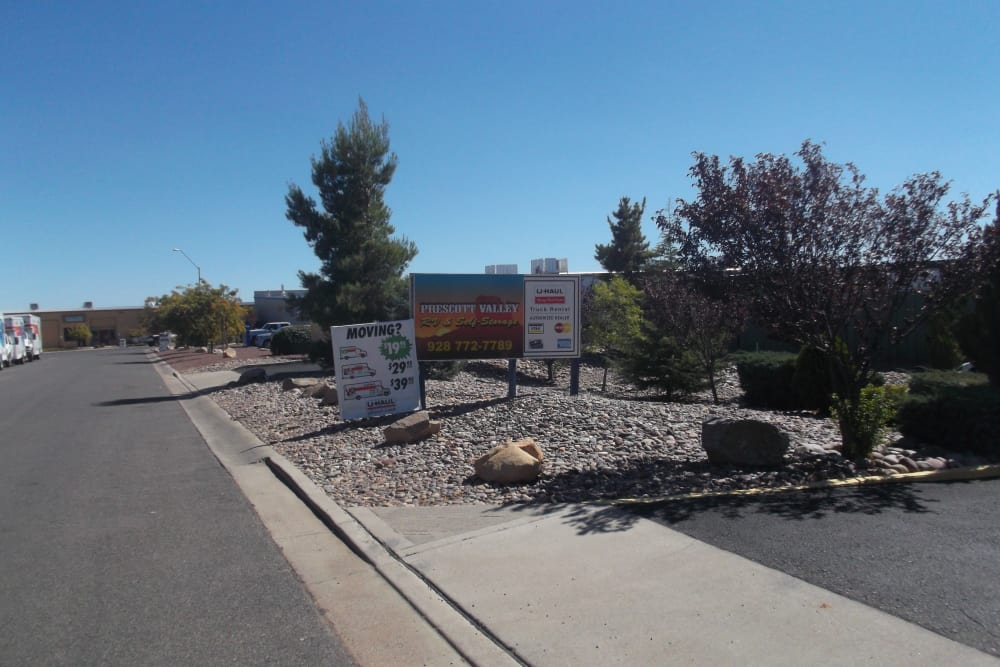 Well manicured grounds at Prescott Valley RV & Self Storage