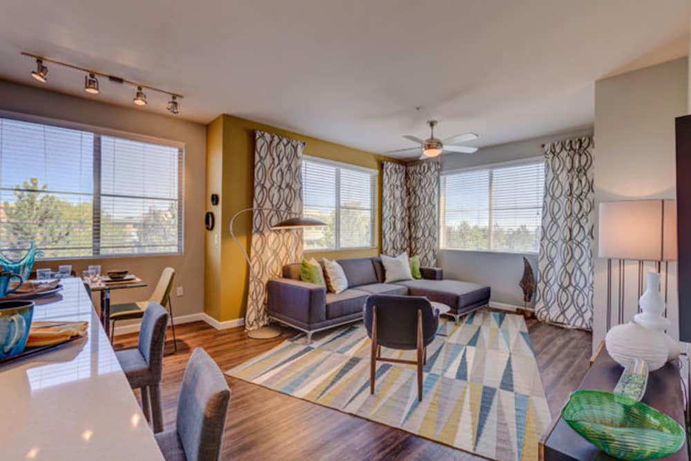 Beautiful living room at The Rail at Inverness in Englewood, CO