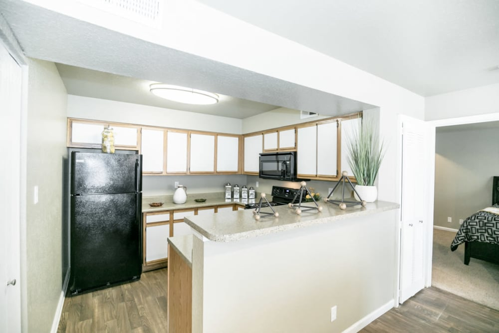 Modern kitchen at 89 East apartments in Tulsa