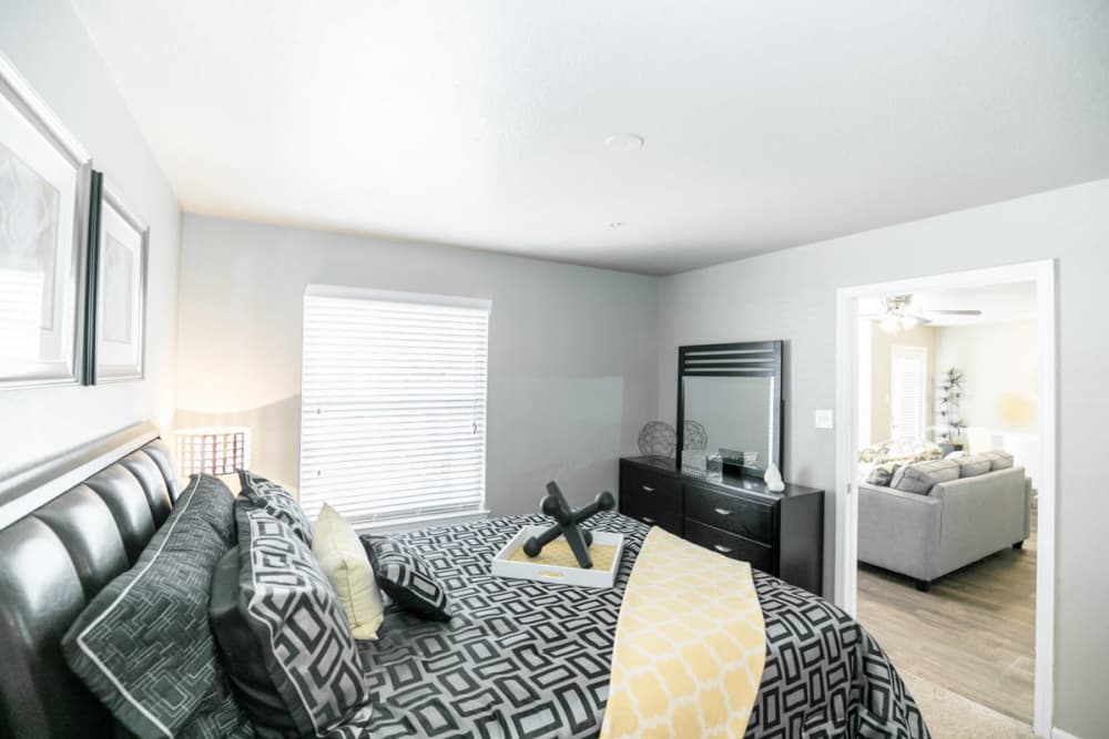 Beautiful bedroom at 89 East apartments in Tulsa, Oklahoma