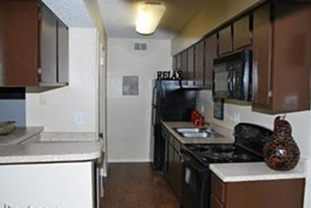 Modern kitchen at Montoro Apartments in Irving, Texas