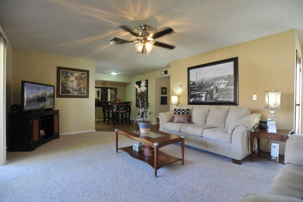 Spacious living room at apartments in El Paso, Texas