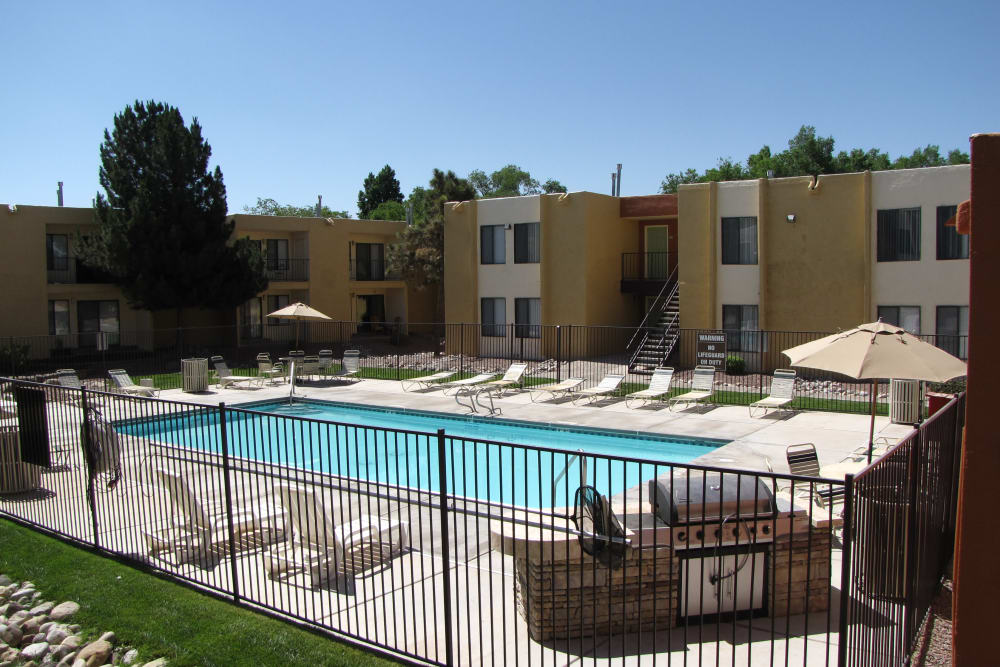 Beautiful swimming pool at Sage Canyon Apartments in Albuquerque, New Mexico