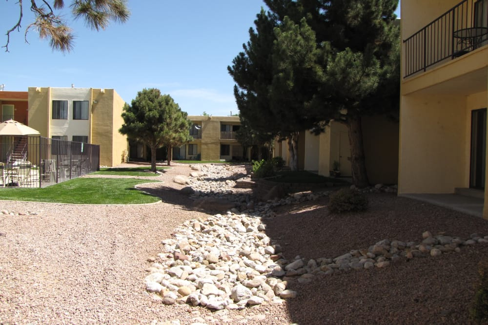 Exterior view of Sage Canyon Apartments in Albuquerque, New Mexico