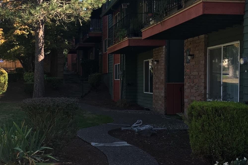 Enjoy a walk in the Fox Pointe Apartments community