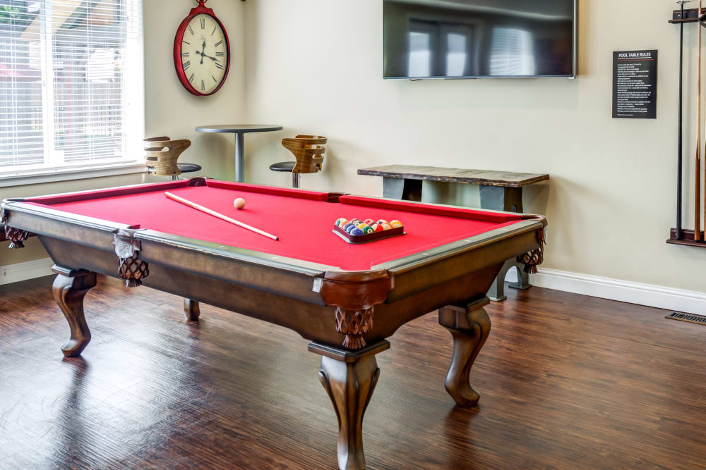 Pool table in the clubhouse at Madison Park Apartments in Vancouver, Washington
