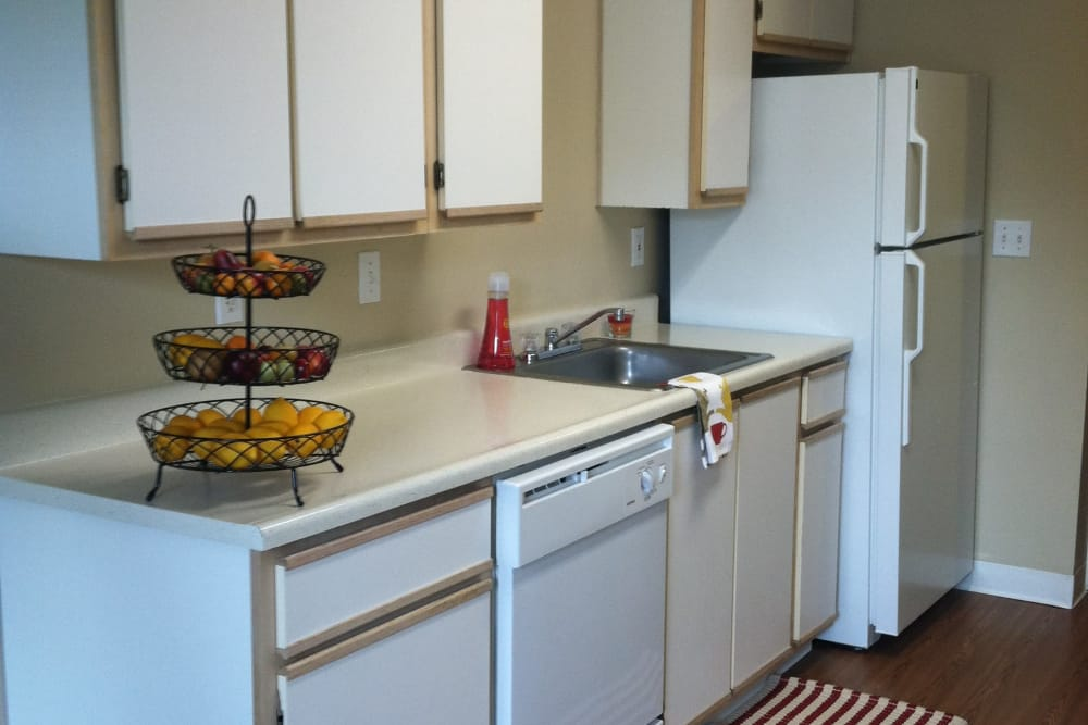 Pier Park apartments in Portland showcase a well equipped kitchen
