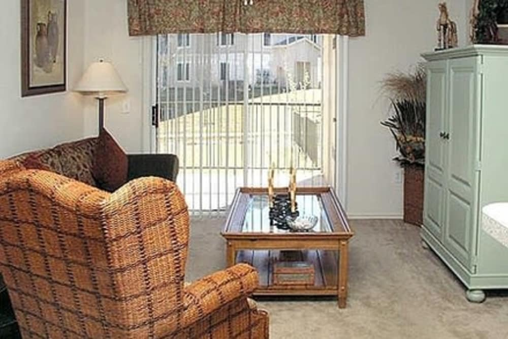 Living room at Fort Branch at Truman's Landing apartments