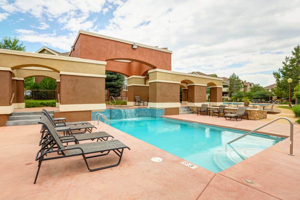 Beautiful swimming pool at Bella Springs Apartments in Colorado Springs, Colorado