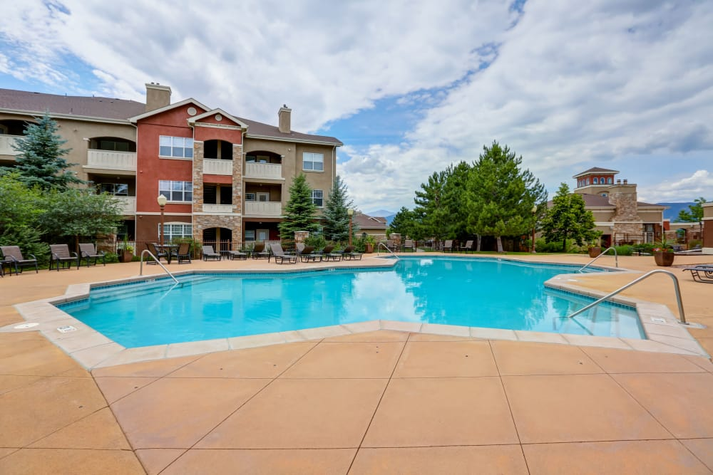 Spacious swimming pool at apartments in Colorado Springs, Colorado