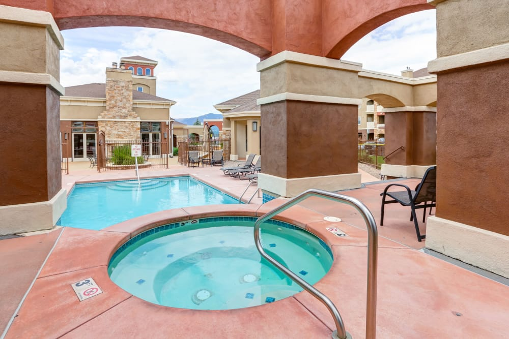 Luxury swimming pool at Bella Springs Apartments in Colorado Springs, Colorado