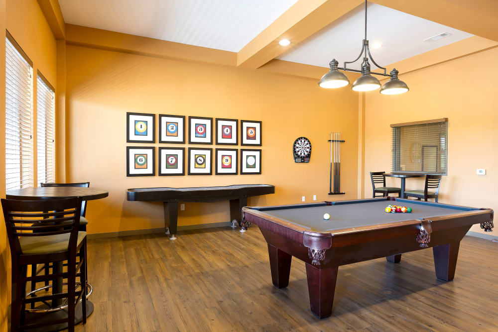 Pool table and shuffleboard at Affinity at Olympia