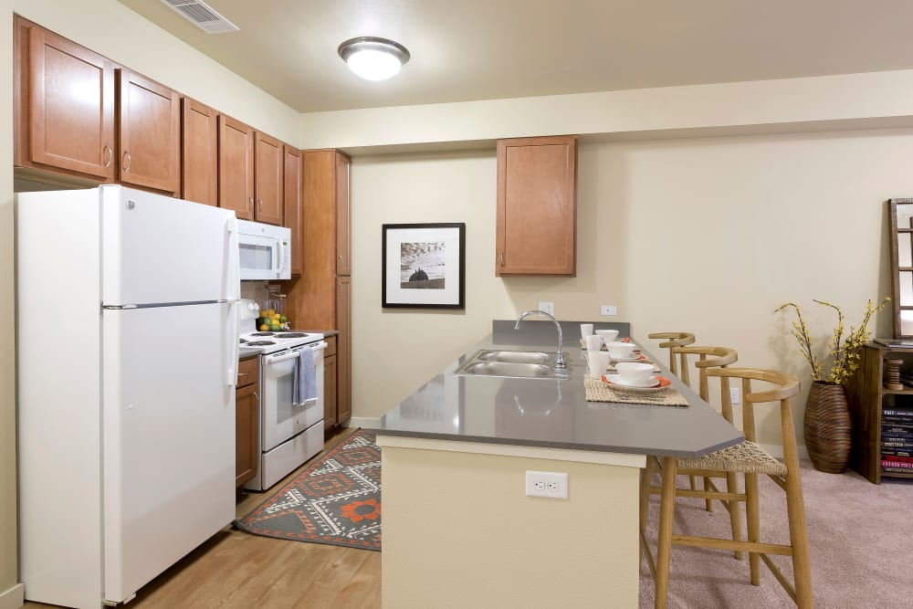 Fully equipped kitchen at Affinity at Wells Branch