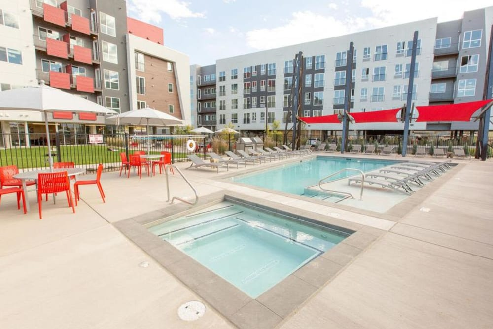 Hot Tub & Swimming Pool at Oxford Station Apartments in Englewood, Colorado