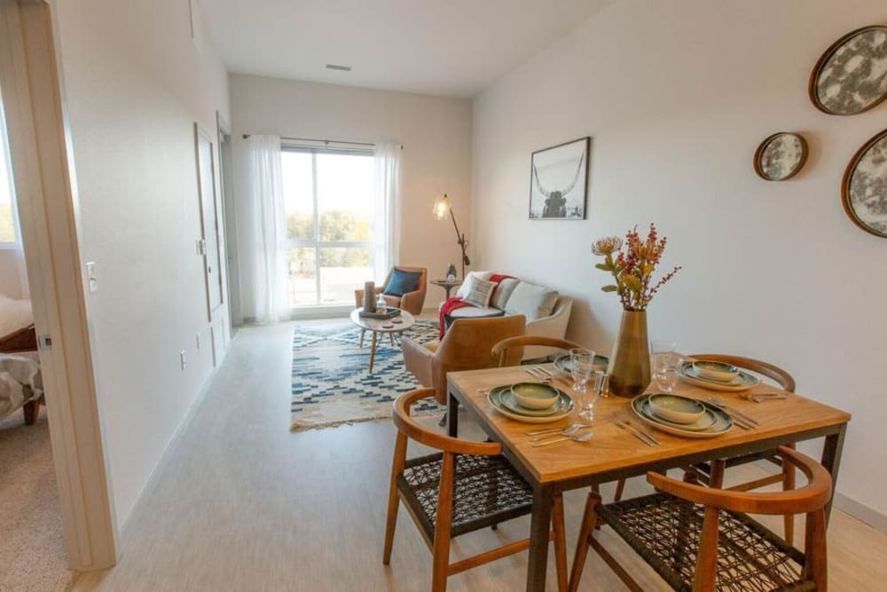 Living Room & Dining Nook at Oxford Station Apartments in Englewood, Colorado