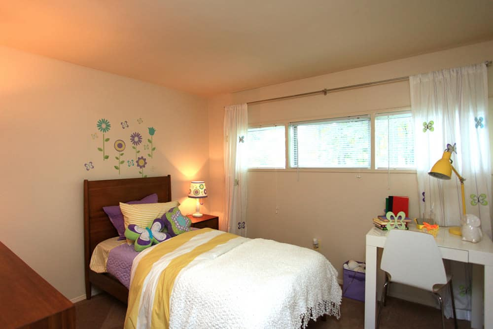Modern bedroom at Cove Village in Essex, MD