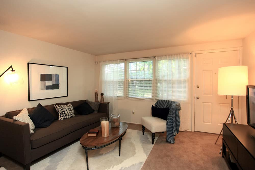 Beautiful living room at Cove Village in Essex, MD