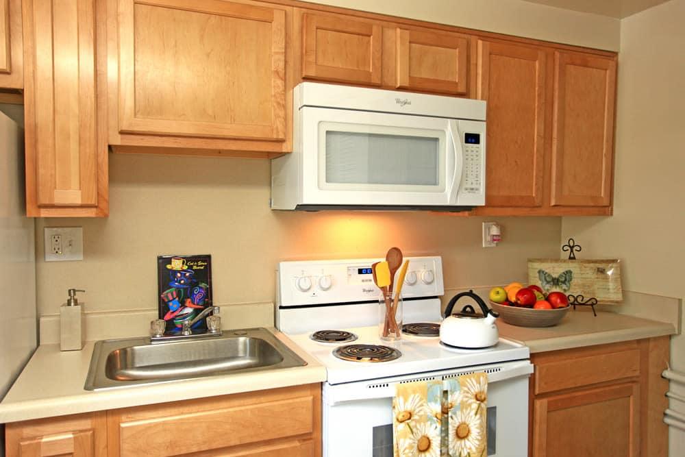 Modern kitchen at Cove Village in Essex, MD