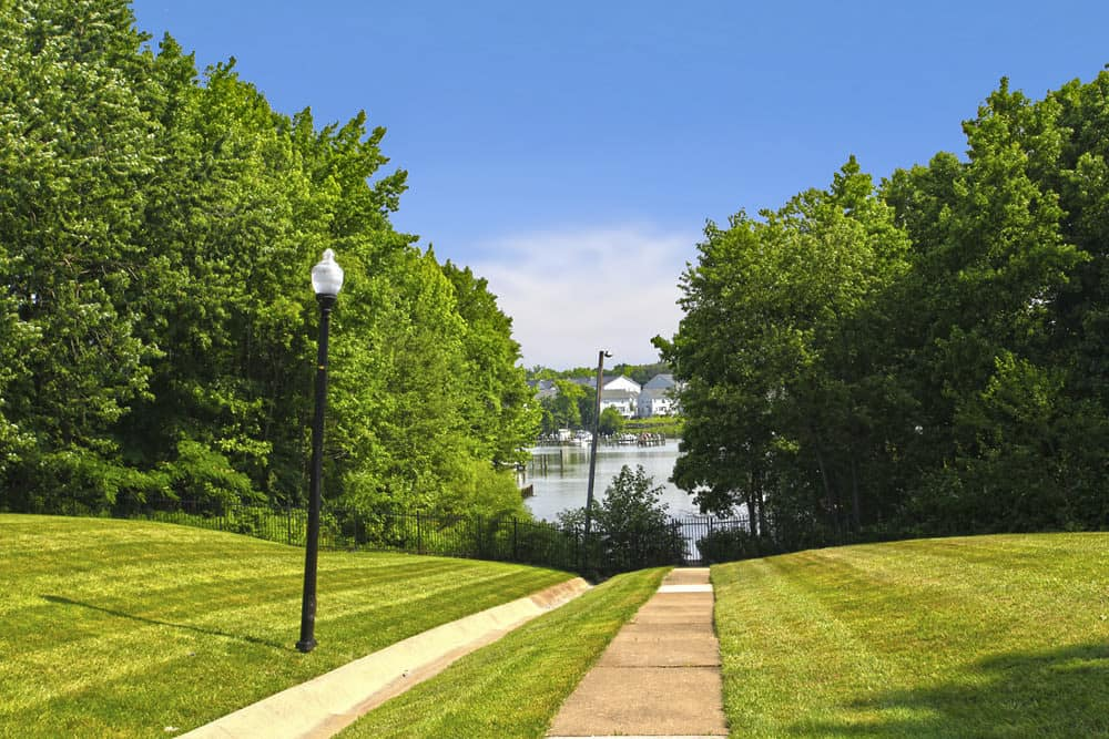 Beautiful walking paths at Cove Village in Essex, MD