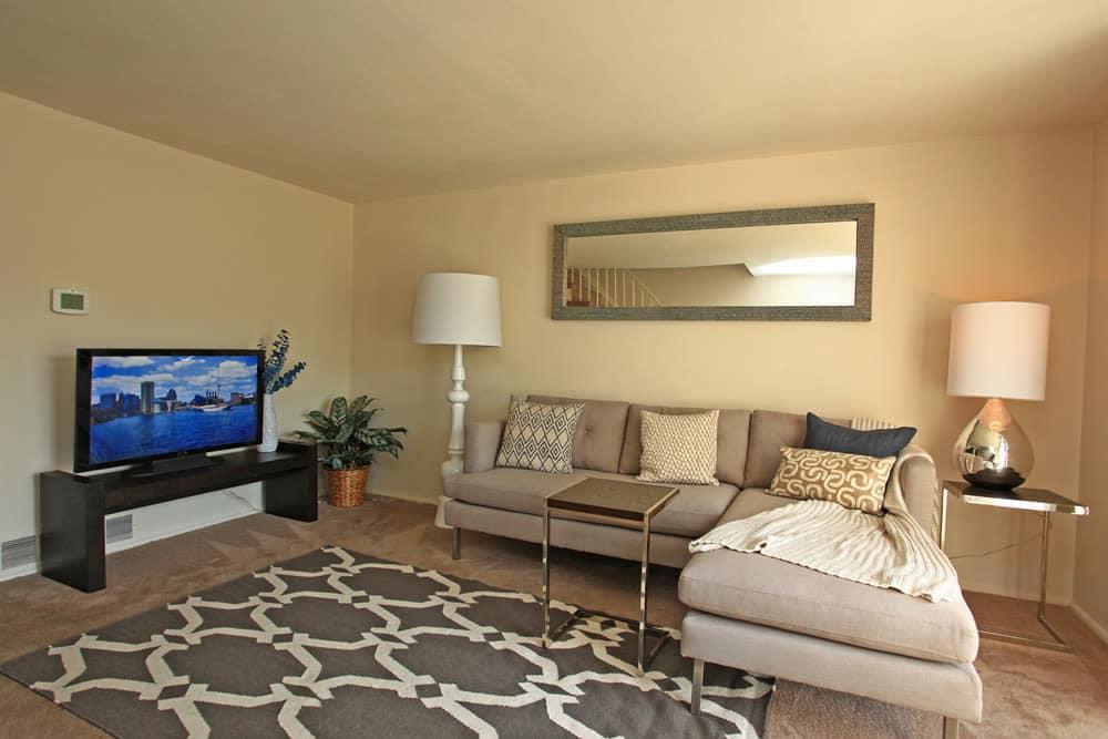 Modern living room at Dutch Village in Baltimore, MD