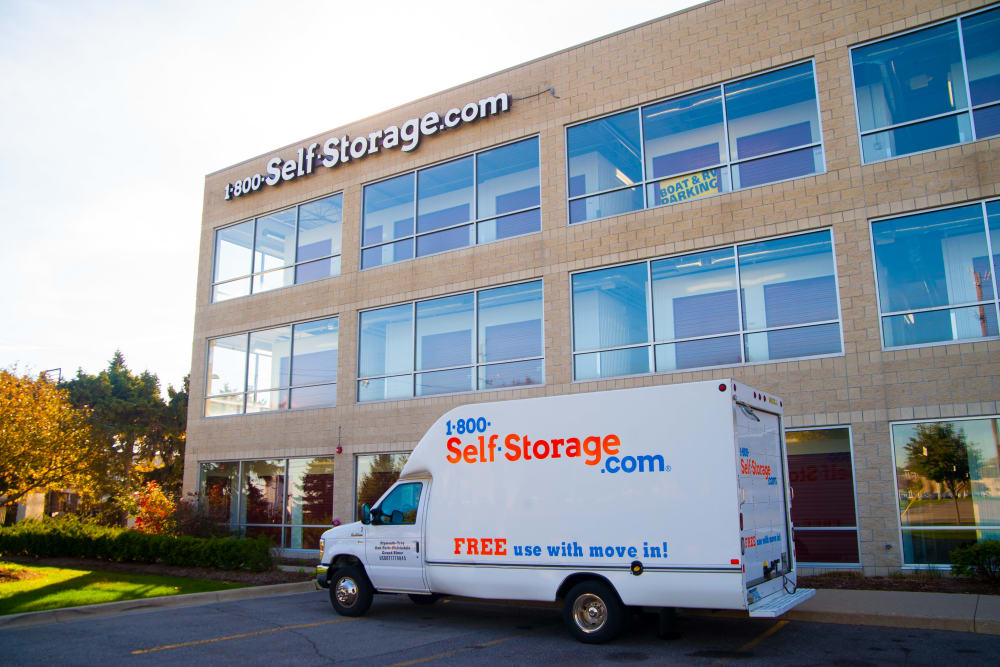 1-800-SELF-STORAGE.com exterior with moving truck parked in front