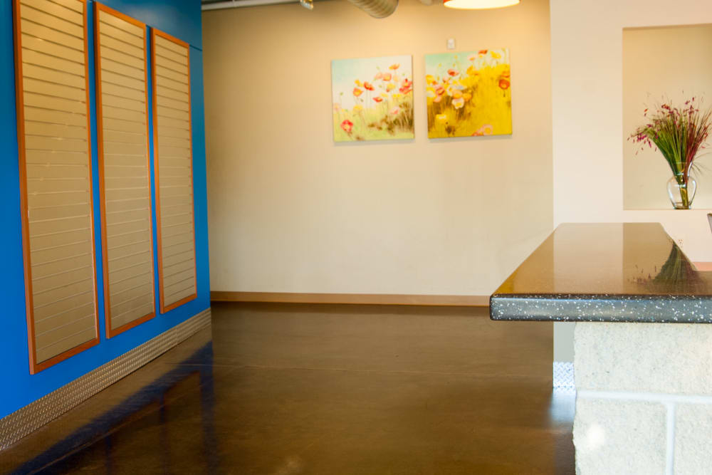 Desk in the lobby at 1-800-SELF-STORAGE.com in Oak Park, Michigan