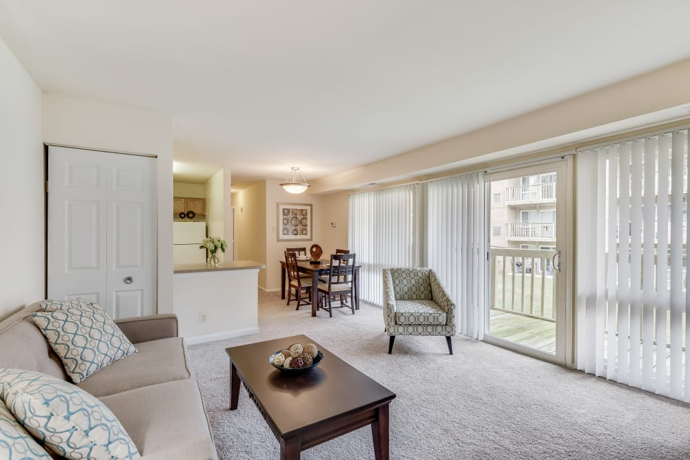 Beautiful living room at Fireside Park Apartments in Rockville, Maryland