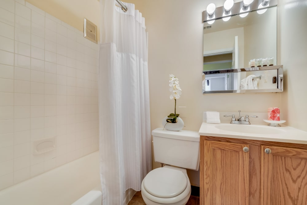 Example bathroom at apartments in Rockville