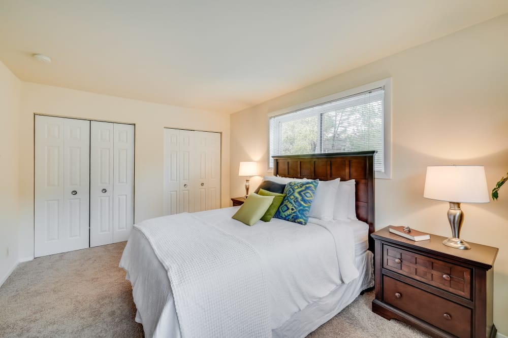Model bedroom at Fireside Park Apartments in Rockville, MD