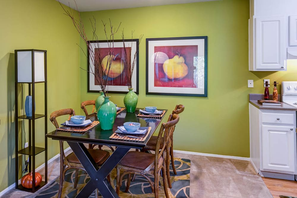 Decorated dining room at Walden Pond Apartments in Everett, Washington